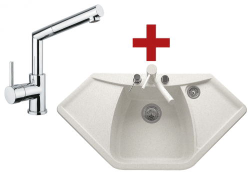 Sinks NAIKY 980 Milk + Sinks MIX 350 P lesklá
