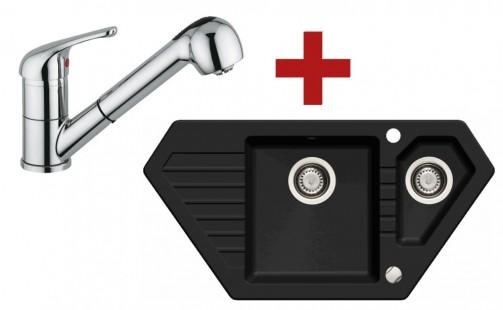 Sinks BRAVO 850.1 Granblack + Sinks VENTO 4 S lesklá