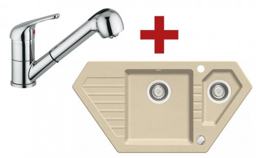 Sinks BRAVO 850.1 Beige + Sinks VENTO 4 S lesklá